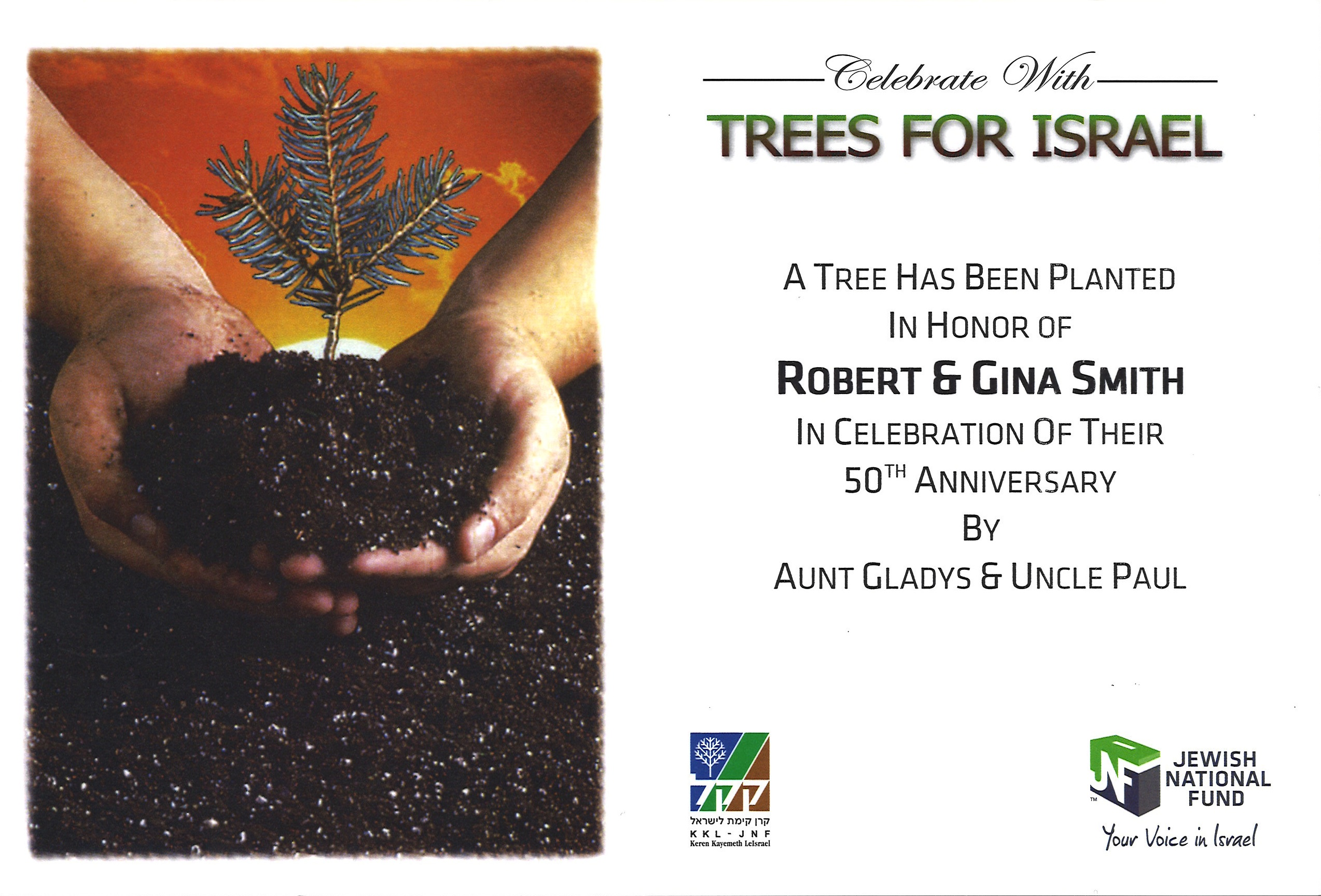 Celebrate Trees for Israel Certificate